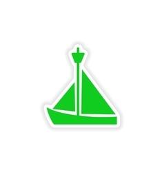 Icon sticker realistic design on paper sailing vector