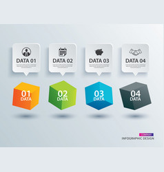 infographics box square with 4 paper data vector image