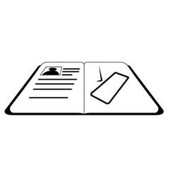 isolated open passport icon vector image