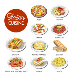 italian cuisine food traditional dishes vector image