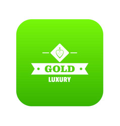 Jewelry gold icon green vector
