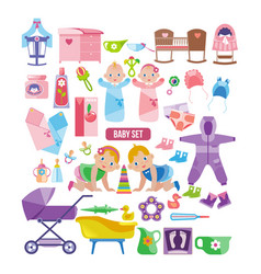 Kids clothes toys linen things for newborns vector