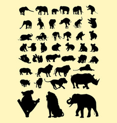 koalas lion elephants rhinoceros silhouettes vector image