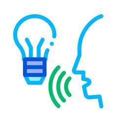 Lightbulb voice control icon vector