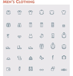 Linear men clothes icon set vector image