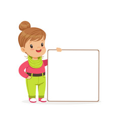 lovely girl character standing with white empty vector image