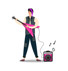 man musician on stage playing pink electric guitar vector image