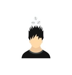 Man with tablets over his head icon flat style vector