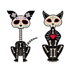 Mexican day dead cat and dog skeletons vector