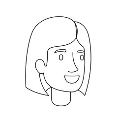 Monochrome silhouette of woman face with mushroom vector