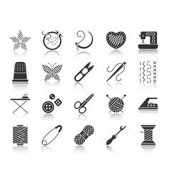 Needlework black silhouette icons set vector