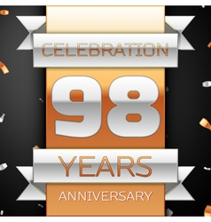 Ninety eight years anniversary celebration golden vector