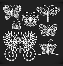 Openwork white butterflies one line vector