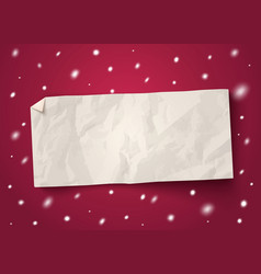 paper banner with snow vector image