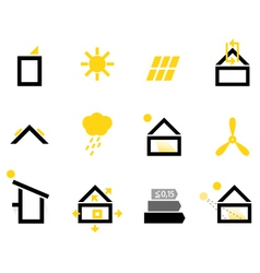 Passive house icons isolated on white vector image