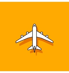 Plane icon flying on orange background vector image