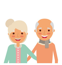 Portrait of elderly couple embracing happy vector