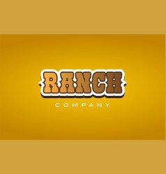 Ranch western style word text logo design icon vector