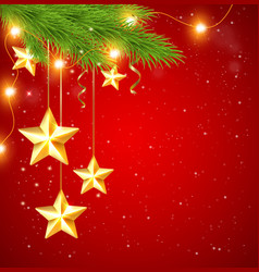 Red Christmas background with shining golden stars vector