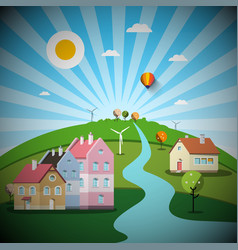 rural scene with houses and hill landscape vector image