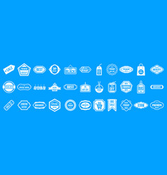 sale badge icon blue set vector image