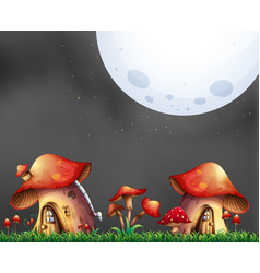 scene with two mushroom houses at night vector image