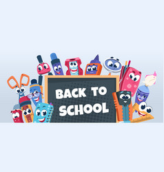School characters background cute educational vector