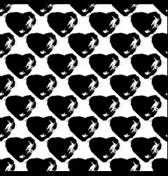 seamless pattern with brush heartss black vector image