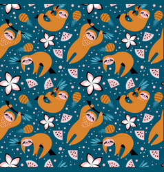 Seamless pattern with cute sloths and fruits vector