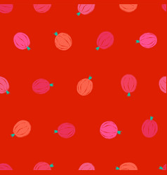 seamless pattern with pink gooseberry vector image