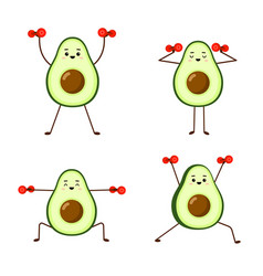 set avocado sport with red dumbbells avocado vector image