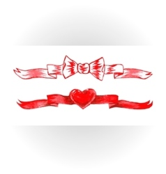 Set of red watercolor ribbons bows hearts vector image