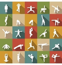 set of Yoga poses silhouette vector image