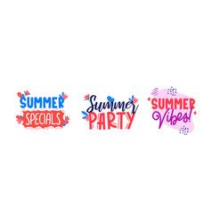 Set summer sale ad texts on white vector