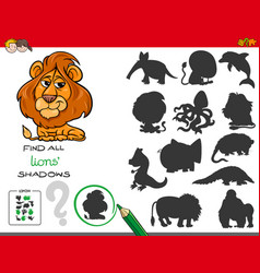 shadows game with lion characters vector image