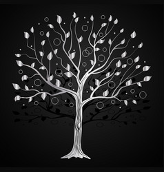 silver tree with circles vector image