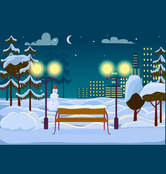 Snowy winter city park vector
