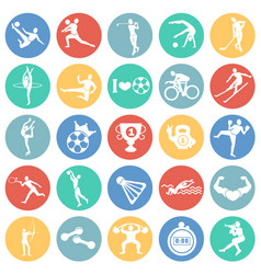 sport disciplines set on color circles background vector image