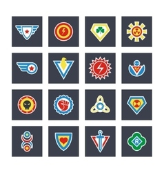 Superhero color badges emblems logos vector image