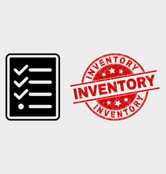 Task list page icon and grunge inventory vector