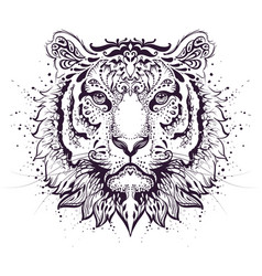 tiger head abstract pattern symbol 2022 year vector image