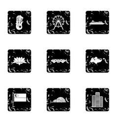 Tourism in Singapore icons set grunge style vector