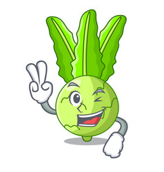 Two finger character kohlrabi on a wooden table vector