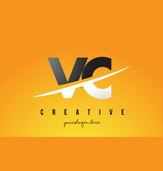 Vc v c letter modern logo design with yellow vector