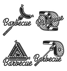 Vintage barbecue emblems vector
