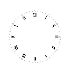 Vintage clock face with roman numbers dots mark vector