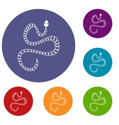 White striped snake icons set vector