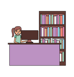 woman with computer and bookshelf vector image