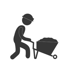 Worker pushing wheelbarrow mine work figure vector