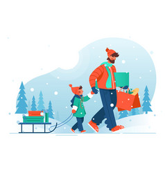 young man father with beard goes with his son vector image
